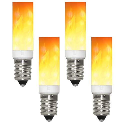 GRANVOO 4-er Pack E14 LED Flammen Lampe PC + Keramik Material 0.5W LED Leuchtmittel Flammenfarbe 10lm 36X2835 SMD AC 220-240V