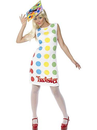 Smiffys 31847S - Damen Twister Kostüm, Kleid und Hut, Größe: 36-38, mehrfarbig (Twister Kostüm Halloween)