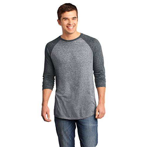 Heathered T-shirt (District microburn Herren 3/4 Arm T-Shirt Gr. XX-Large, Mehrfarbig - Black/Heathered Nickel)