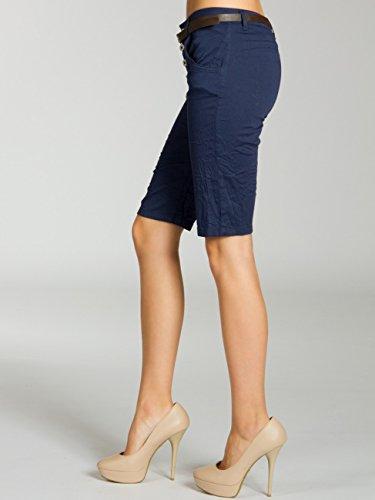 CASPAR BST005 Bermuda chino en coton pour femme bleu foncé