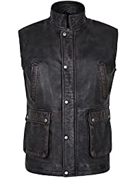 Hombre Rouge Black Rub Off Distressed Stylish Real Soft Leather Chalecos