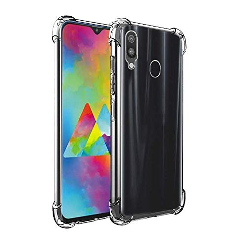 Bracevor Back Cover Case for Samsung Galaxy M20 6.3inch Flexible Shockproof TPU Cushioned Edges (Transparent)