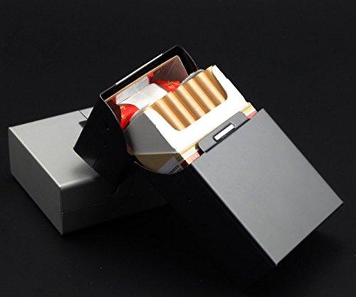 GONO Alu Zigarettenetui Zigarettendose Zigaretten Etui Box Alu Edel mit Magnetverschluß Farbe der Box Schwarz