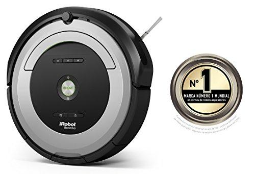 iRobot Roomba 680   Robot aspirador (potente sistema de limpieza con sensores de suciedad Dirt Detect  aspira alfombras y suelos duros  atrapa el pelo de mascotas  programable)  color plata