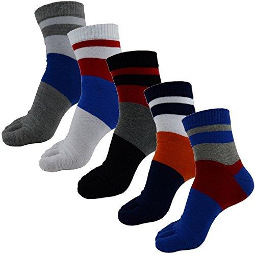 Männer im 5er-Pack Baumwollbeiläufiges Colour Block Fünf-Zehen-Socken (3 Block-ferse)