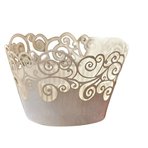 joyliveCY 50pcs Wolke Design Style Pearly Papier Vine Spitze Cup Cake Wrappers Dekoration Weißer