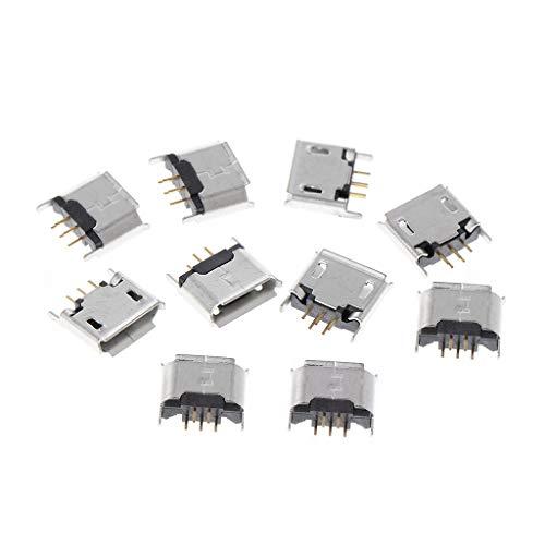 JOYKK 10 Stück Micro USB Typ B Buchse 180 Grad 5-Pin SMD SMT Lötbuchse - Silber Ton -