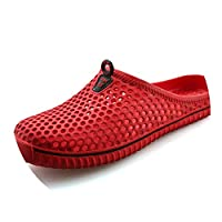 Ablaze Jin-eu mens slippers Hollow Out Breathable Beach Flip Flops Unisex Casual Slip-on Flats Sandals Shoes Zapatos,Red,5