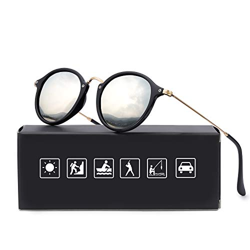 Retro Rund Sonnenbrille Polarisierte Herren, 100% Schutz vor schädlichen UVA/UVB Strahlen (schwarz+Silber)