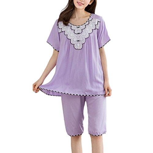 Zhuhaitf Women's Quality Premium Sleepwear Short Sleeves Pyjama Set Purple