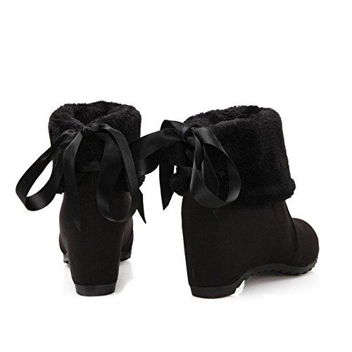 COOLCEPT Damen Fransen Warm Gefütter Keilabsatz Mitte der Wade Herbst-Winter Schneestiefel Schuhen mit hohen Absätzen Schwarz