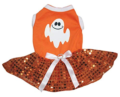 Petitebelle Puppy Kleidung Hund Kleid Halloween Ghost orange Top Pailletten ()