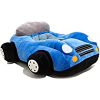 Pearl World Presents Car Shape Stuffed Soft Plush Sofa Toy Toddlers/Training Seat for Kids 3 Month-3 Years (Blue)
