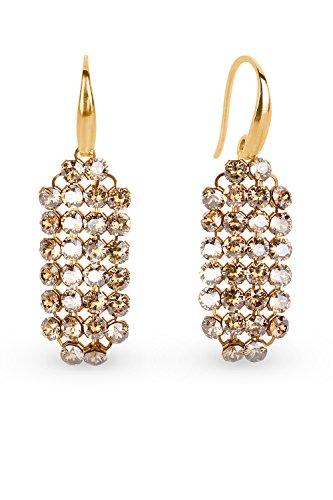 Spark Swarovski Elements Damen Ohrringe leichter Hänger Sterling Silber 925 vergoldet, 28 Swarovski Kristalle Gold