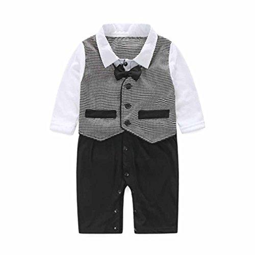 Bekleidung Longra Neugeborenes Baby jungen formale Partei Taufe Hochzeit Smoking Weste Fliege Anzüge Strampler Overall Bodysuit Kleidung(0 -24 Monate) (80CM 6 Monate)