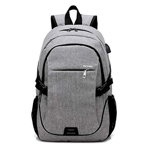 17 Zoll Laptop Rucksack Männer Casual Business Tasche Reiserucksack mit USB-Ladeanschluss für Schule/Outdoor/Wandern/Camping/College/Frauen/Männer (Color : Gray)
