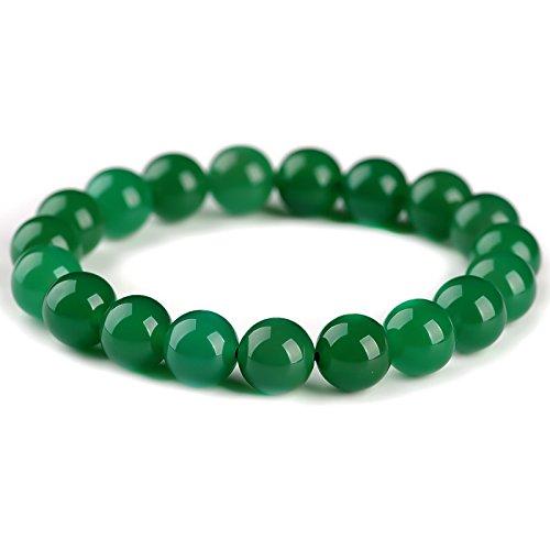 Hermosa joyería china 8 mm verde calcedonia jade cuentas pulsera elástica