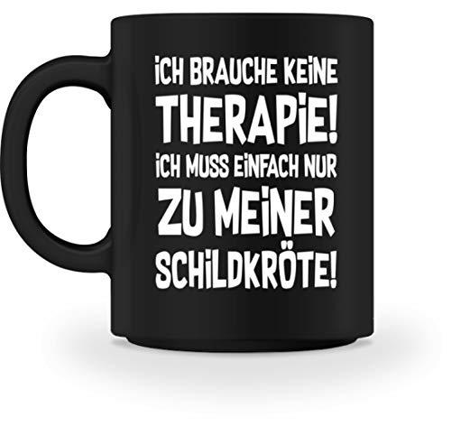 Land Frühstückstisch (shirt-o-magic Schildkröte: Therapie? Lieber Schildkröten - Tasse -M-Schwarz)