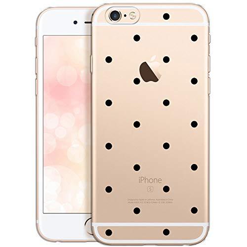 OOH!COLOR iPhone 6 Plus iPhone 6S Plus Hülle Silikon Handyhülle Transparent dünn Schutzhülle Case mit Motiv Schwarze Punkte