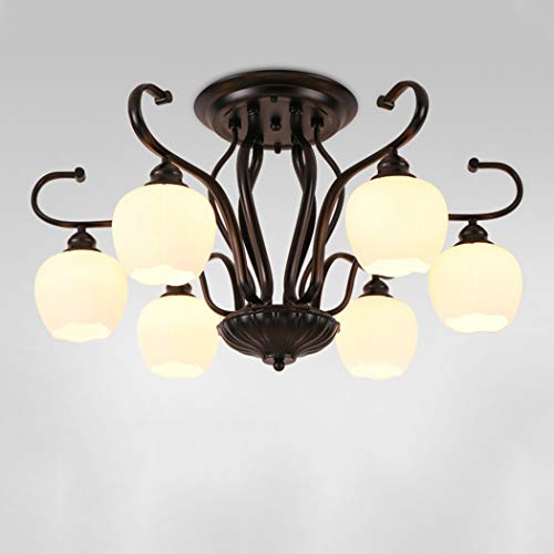 YJFFAN Modernes minimalistisches Home Lighting Ceiling Light, American Wrought Iron Glass Multi-Head Ceiling Lampe für Living Room Dining Room Bedroom Lampe E27,110-240V,6heads