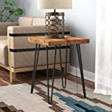 Wood Carver Bedside Table/Coffee Table/End Table/Sofa Table with 4 Foldable Legs for Living Room & Bedroom Natural Finish (Cl