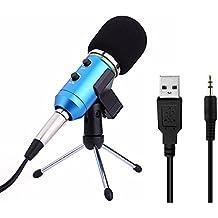 Micrófono de Condensador profesional USB Micrófono vocal portátil con soporte de trípode de sobremesa y cable USB Azul para Computadora laptop