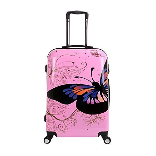 24 inch Travel Luggage Suitcase 4 Wheel Cabin Trolley Set (24 inch, Pink Butterfly) by WindMax
