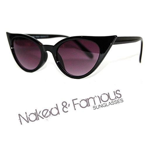 Schwarz Rahmen Cateye klein VTG Stil der 50er/60er Damen Cat Eye Sonnenbrille Retro Rockabilly Gläser UK Lager
