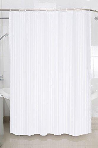 Textil Duschvorhang Badewannenvorhang Vorhang 180x200 incl. 12 Ringe-568254 Streifen weiß