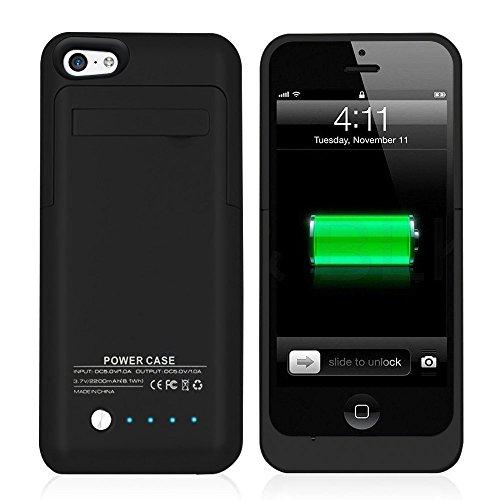 Muze - Cover con caricabatteria di backup 2200 mAh per iPhone 5G 5C 5S (compatibile con iOS 7 o Superiore) + Porta di Ricarica Lightning + Supporto + Inserto scorrevole sottile + protezione Full Body + interruttore ON/OFF LED indicatore livello batteria