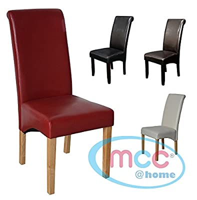 Set of 2 Faux Leather Dining Chairs Roll Top Scroll High Back For Home & Commercial Restaurants [Brown* Black* Red* Cream*] - low-cost UK light shop.
