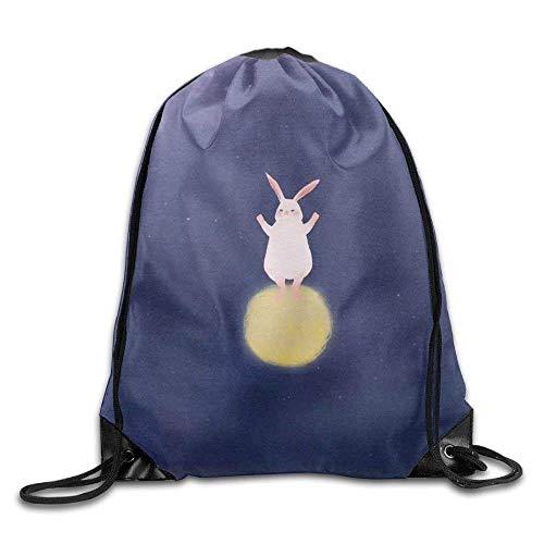 False warm warm Moon Rabbit Drawstring Backpack Rucksack Shoulder Bags Training Gym Sack for Man and Women - Roxy Rolling Rucksack