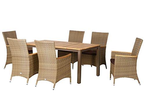 13-teilige Luxus Aluminium Teak Polyrattan Geflecht Gartenmöbelgruppe 'Anaheim' , 6 Diningsessel, 6 Auflage und ein Teaktisch Geneva 160x90, braun - sand