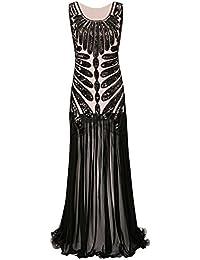 Metme Mujeres Roaring años 20s Paisley Chiffon Flapper Gatsby vestido largo para el baile de graduación