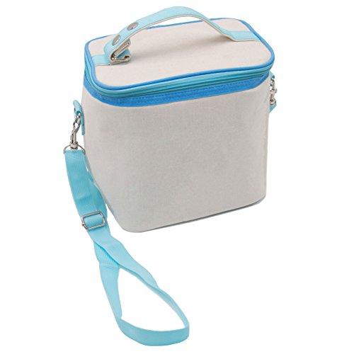 """Zollner24 borsa termica porta alimenti/borsa frigo piccola, 23x16x24 cm, capacità di 9 litri, colore beige, con maniglia e tracolla nel colore azzurro, dallo specialista per alberghi, serie """"fresh"""""""