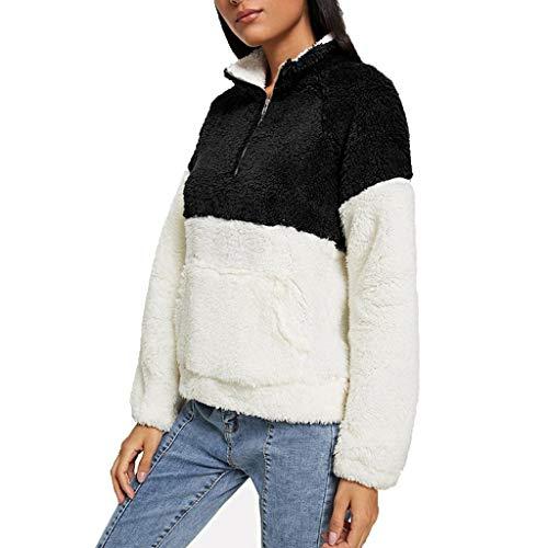 SHINEHUA Damen Polar Fleece Sweatshirt 1/4 Zip Pullover Mantel Langarmshirt Sweatshirts Tops Mit Taschen Herbst Winter Warm Langarm Oberteile -