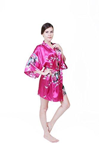 KEYNIS Damen Morgenmantel Satin Kimono Robe Bademantel Nachtwäsche mit Pfau und Blumen Kurze Rose Red
