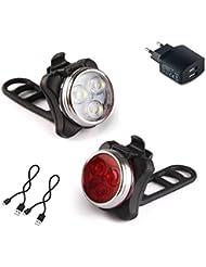 LED Fahrradbeleuchtung, AMANKA LED Frontlicht und Rücklicht Für Radfahren Wasserdicht, 350lm ,4 Licht-Modi, Led Fahrradlampe Set (2 USB-Kabel &1 Ladegerät)