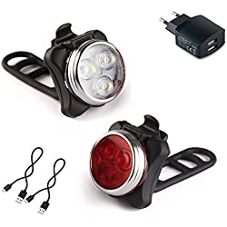 Luces Bicicleta LED, AMANKA Luz para Bicicleta Recargable por USB Conjunto de Luces Delantera y Trasera para Bicicleta 4 Modo 650mAh Reflector Bici Seguridad Faro de Señal