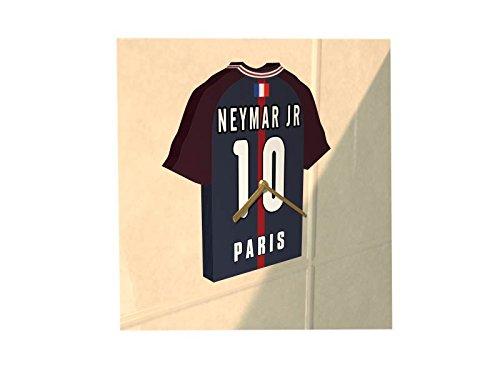 France Ligue 1 - Horloge murale en forme de T-shirt de foot– Personnalisation gratuite: n'importe quel nom, numéro, équipe!! (PSG)