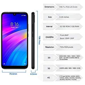 Redmi 7 3GB RAM 32GB ROM Versión Global Dual SIM Snapdragon 632 Octa Core 4000mAh Redmi Seven Smartphone (Black)