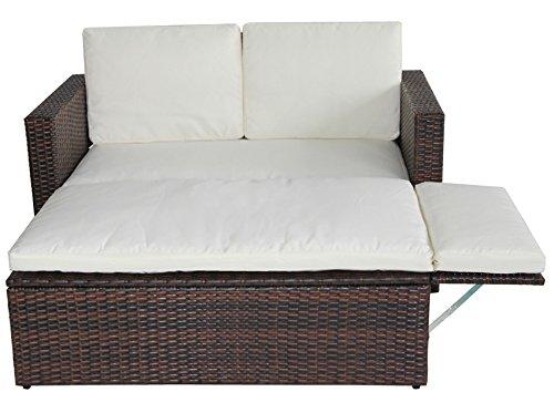 POLY RATTAN Lounge Gartenset Sofa Garnitur Polyrattan Gartenmöbel (Braun) - 4