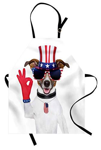 Abakuhaus 4. Juli Kochschürze, Jack Russell mit Einem Uncle Sam Hat Gloves und riesigen Sonnenbrillen feiern, Farbfest Höhenverstellbar Waschbar Klarer Digitaldruck, Mehrfarbig
