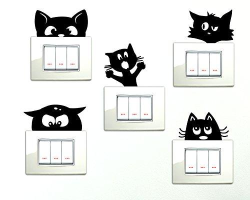 Adesivi interruttore spine placche gatti che si affacciano 5 pezzi adesivo simpatico gattino simpatici gattini wall stickers decorativo gattino adesivo murale decorazione cameretta