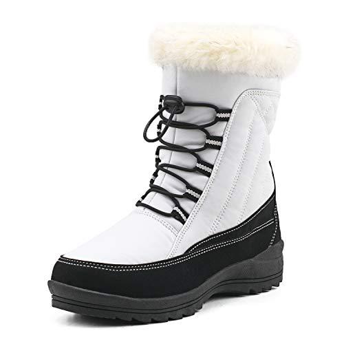 Shenji Damen Schneestiefel Halbschaft Schnürstiefel Warm Gefüttert Bootsschuhe Bequem H7631 Weiß 39