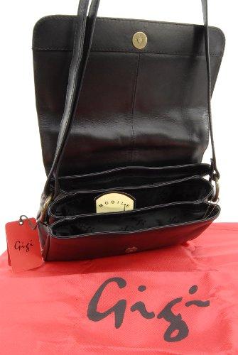 Umhängetasche Leder von Gigi - GRÖßE: B: 25 cm, H: 18 cm, T: 6,5 cm Schwarz