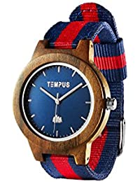 Tempus–Willoughby–Las mujeres de madera reloj minimalista de madera reloj de pulsera rayas Nylon banda–tww06
