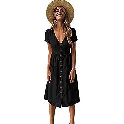 Longwu Vestido a Media Pierna con Cuello en V y Manga Corta Casual con Cuello en V para Mujer y Bolsillos Women Dress Negro S