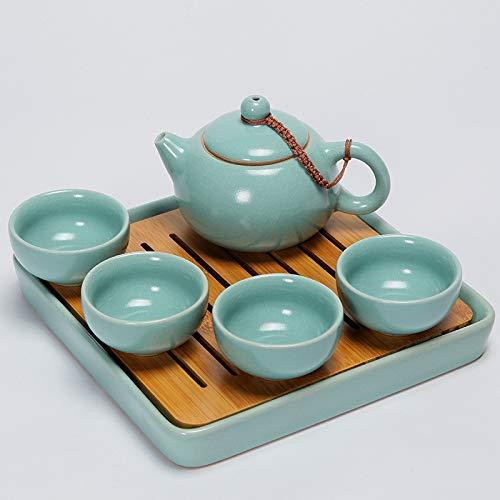Teetassen-Set, tragbares Reise-Kung Fu-Tee-Set, ein Topf mit vier Tassen Keramik-Trockenschaumplatte Schwarzer Tee-Handgriff Pot-Chinesische Keramik für Zuhause, Restaurants, Display & oder Freunde,B - Restaurant-display
