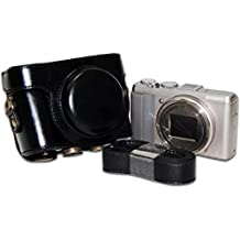 First2savvv XJPT-HX60-01 Funda Cámara cuero de la PU cámara digital bolsa caso cubierta con correa para Sony DSC HX60 HX50 HX30 negro